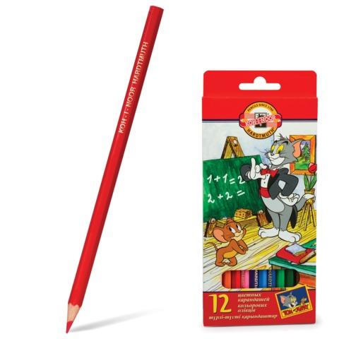 Карандаши цветные KOH-I-NOOR «T+J», 12 цветов, грифель 3,2 мм, заточенные, картонная упаковка с европодвесом