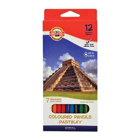 """Карандаши цветные KOH-I-NOOR """"7 чудес света"""", 12 цветов, грифель 3,2 мм, заточенные, картонная упаковка, подвес"""