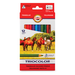 Карандаши цветные утолщенные KOH-I-NOOR «Triocolor», 12 цветов, трехгранные, 5,6 мм, заточенные