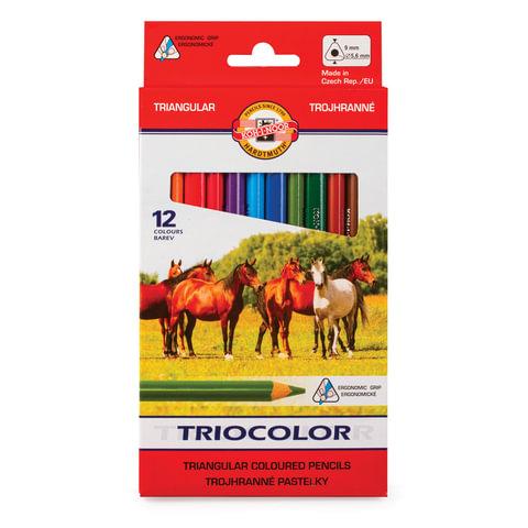 """Карандаши цветные утолщенные KOH-I-NOOR """"Triocolor"""", 12 цветов, трехгранные, 5,6 мм, заточенные"""