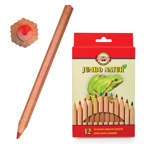 Карандаши цветные утолщенные KOH-I-NOOR «Jumbo natur», 12 цветов, грифель 5,6 мм, некрашеный корпус, заточенные