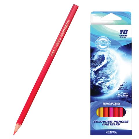 Карандаши цветные KOH-I-NOOR «Космическая одиссея», 18 цветов, грифель 3 мм, заточенные, картонная упаковка с подвесом