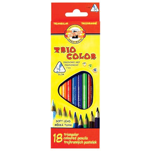 """Карандаши цветные KOH-I-NOOR """"Triocolor"""", 18 цветов, трехгранные, грифель 3,2 мм, европодвес"""
