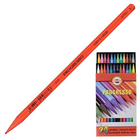 """Карандаши цветные художественные KOH-I-NOOR """"Progresso"""", 24 цвета, 7,1 мм, в лаке, без дерева, заточенные"""