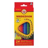 Карандаши цветные KOH-I-NOOR «Triocolor», 24 цв., трехгранные, грифель 3,2 мм, заточенные, картонная упаковка с европодвесом