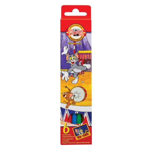 """Карандаши цветные KOH-I-NOOR """"Tom and Jerry"""", 6 цветов, грифель 3,2 мм, европодвес"""