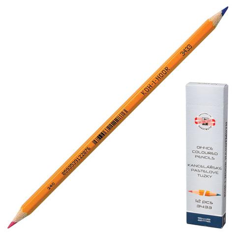 Карандаш двухцветный KOH-I-NOOR, 1шт., красно-синий, грифель 3,2 мм, желтый корпус