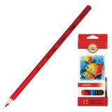Карандаши цветные акварельные KOH-I-NOOR «Fish», 12 цветов, грифель 3 мм, заточенные, картонная упаковка, европодвес