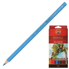 Карандаши цветные акварельные художественные KOH-I-NOOR «Mondeluz», 24 цвета, 3,8 мм, заточенные, европодвес