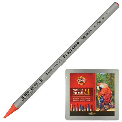 Карандаши цветные акварельные художественные KOH-I-NOOR «Progresso», 24 цвета, грифель 7,1 мм, в лаке, заточенные, метал.пенал