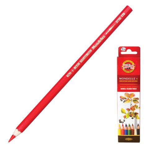 Карандаши цветные акварельные художественные KOH-I-NOOR «Mondeluz», 6 цветов, грифель 3,8 мм, заточенные, картонная упаковка