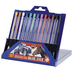 Карандаши цветные KOH-I-NOOR, 12 цветов, грифель 3,2 мм, выдвижной пластиковый корпус, точилка, пластиковая коробка