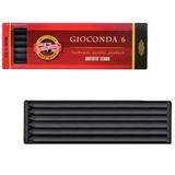 Уголь искусственный для рисования KOH-I-NOOR, набор 6 шт., «Gioconda», твердый, заточенный, пластиковая коробка