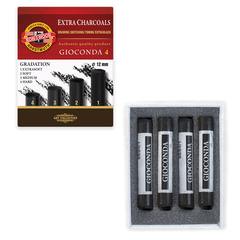 Уголь прессованный KOH-I-NOOR «Gioconda», набор 4 шт., круглое сечение, 4 градации твердости