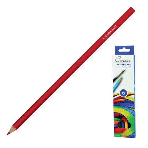 Карандаши цветные акварельные «Сонет», 6 цветов, картонная упаковка с европодвесом