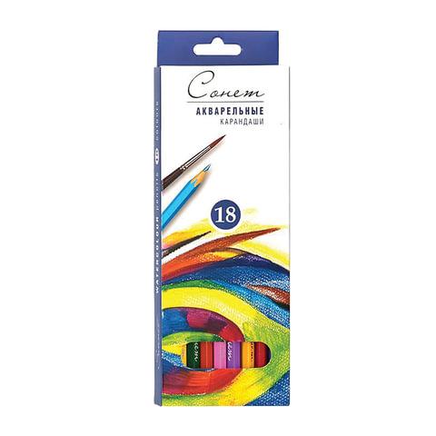 """Карандаши цветные акварельные """"Сонет"""", 18 цветов, картонная упаковка с европодвесом"""