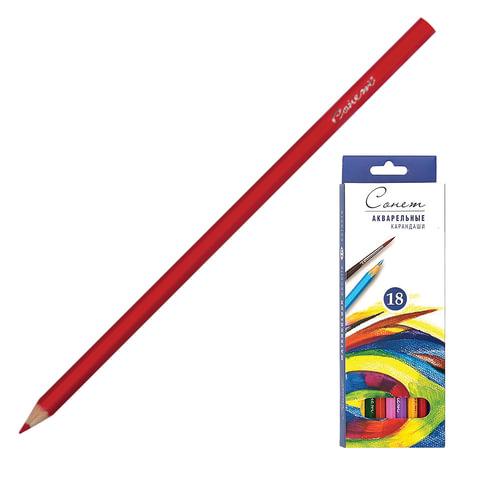 Карандаши цветные акварельные «Сонет», 18 цветов, картонная упаковка с европодвесом