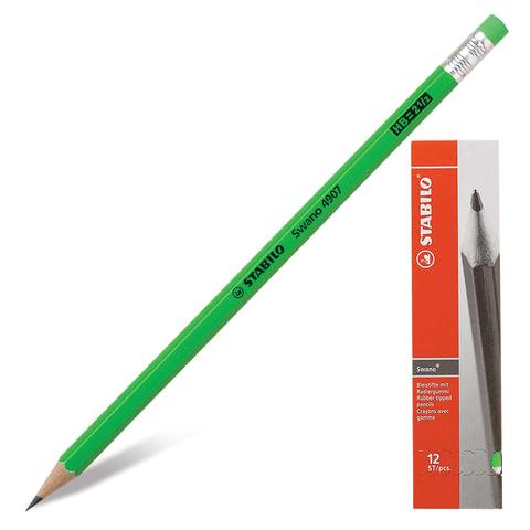 """Карандаш чернографитный STABILO, 1 шт., """"Swano"""", HB, корпус неоновый зеленый, с ластиком, заточенный"""