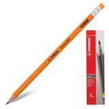 Карандаш чернографитный STABILO «Swano», HB, корпус неоновый оранжевый, с ластиком, заточенный