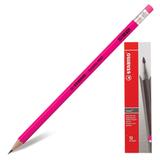 Карандаш чернографитный STABILO «Swano», HB, корпус неоновый розовый, с ластиком, заточенный