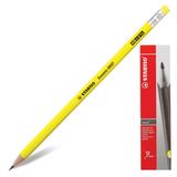 Карандаш чернографитный STABILO «Swano», HB, корпус неоновый желтый, с ластиком, заточенный