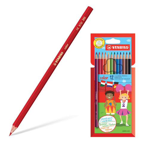 Карандаши цветные STABILO «Color», 12 цветов, грифель 2,5 мм, заточенные, картонный футляр