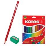 Карандаши цветные KORES «Kolores», 24 цвета, трехгранные, с точилкой, заточенные, в картонной упаковке с европодвесом