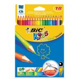 Карандаши цветные BIC «Kids ECOlutions Evolution», 18 цветов, пластиковые, заточенные, европодвес