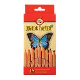 Карандаши цветные утолщенные KOH-I-NOOR «Jumbo Natur», 18 цветов, грифель 5,6 мм, некрашеный корпус, заточенные