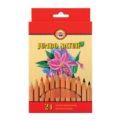 """Карандаши цветные утолщенные KOH-I-NOOR """"Jumbo natur"""", 24 цвета, 5,6 мм, некрашеный корпус, подвес"""