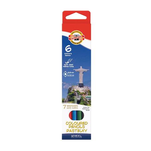 """Карандаши цветные KOH-I-NOOR """"7 чудес света"""", 6 цветов, грифель 3,2 мм, заточенные, картонная упаковка с европодвесом"""