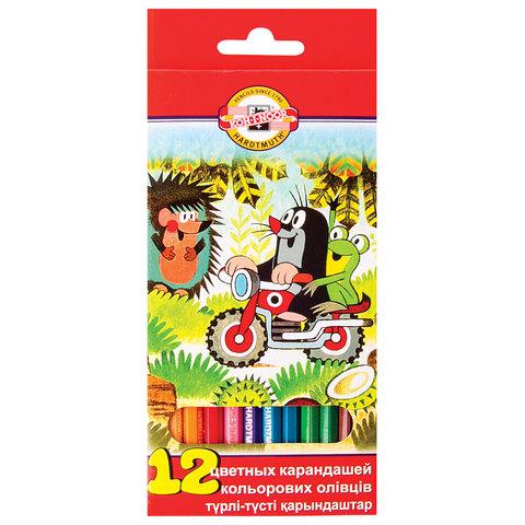 """Карандаши цветные KOH-I-NOOR """"Крот"""", 12 цветов, грифель 3,2 мм, заточенные, европодвес"""