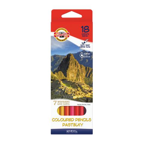 """Карандаши цветные KOH-I-NOOR """"7 чудес света"""", 18 цветов, грифель 3,2 мм, заточенные, картонная упаковка с европодвесом"""