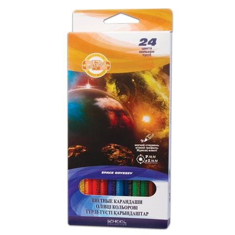 """Карандаши цветные KOH-I-NOOR """"Космическая одиссея"""", 24 цвета, грифель 3 мм, европодвес"""