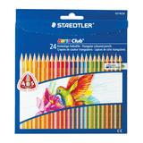 Карандаши цветные STAEDTLER (Германия) «Noris club», 24 цвета, трехгранные, заточенные, европодвес