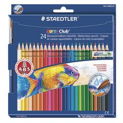 Карандаши цветные акварельные STAEDTLER (Германия) «Noris club», 24 цвета + кисть, европодвес