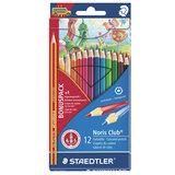 Карандаши цветные STAEDTLER (Германия) «Noris club», 12 цветов + 1 цвет-радуга, заточенные