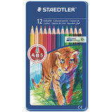 Карандаши цветные STAEDTLER (Штедлер, Германия) «Noris club», 12 цветов, металлический пенал
