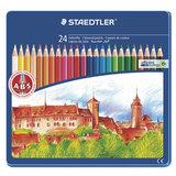 Карандаши цветные STAEDTLER (Германия) «Noris club», 24 цвета, заточенные, металлический пенал