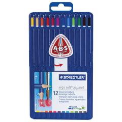 Карандаши цветные акварельные STAEDTLER ПРЕМИУМ (Германия) «Ergosoft», 12 цветов, трехгранные, пластиковый футляр