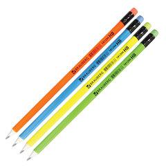 Карандаш чернографитный BRAUBERG, 1 шт., «Neon», HB, трехгранный, неоновый ассорти, цветной ластик