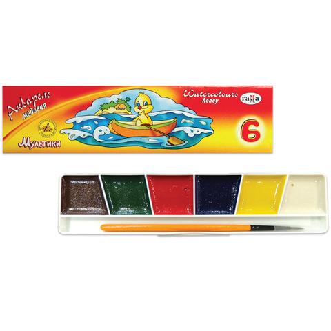 Краски акварельные ГАММА «Мультики», 6 цветов, картонная коробка, с кистью