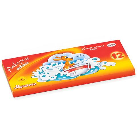 """Краски акварельные ГАММА """"Мультики"""", 12 цветов, медовые, без кисти, картонная коробка"""