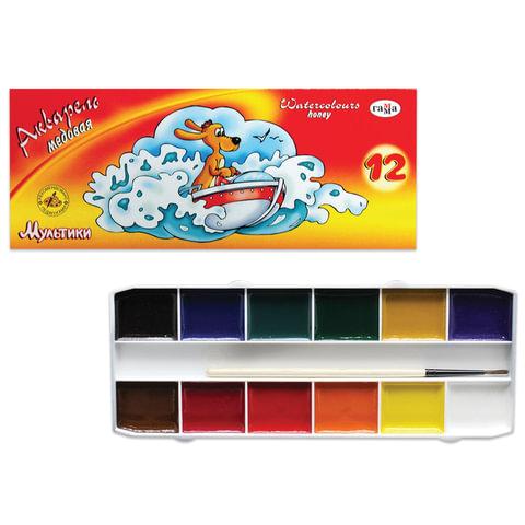 Краски акварельные ГАММА «Мультики», 12 цветов, картонная коробка, с кистью