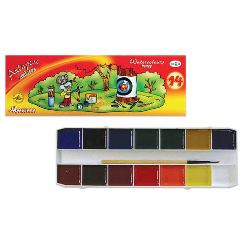 Краски акварельные ГАММА «Мультики», 14 цветов, картонная коробка, с кистью