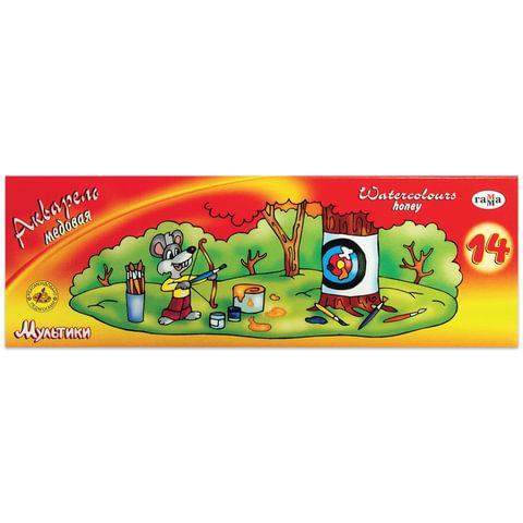 """Краски акварельные ГАММА """"Мультики"""", 14 цветов, медовые, с кистью, картонная коробка"""
