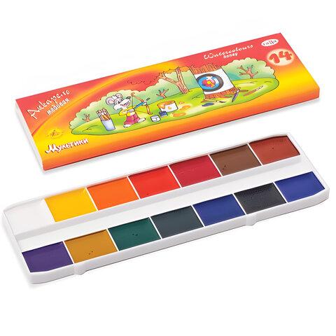 Краски акварельные ГАММА «Мультики», 14 цветов, медовые, картонная коробка, без кисти