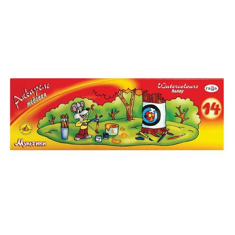 """Краски акварельные ГАММА """"Мультики"""", 14 цветов, медовые, без кисти, картонная коробка"""