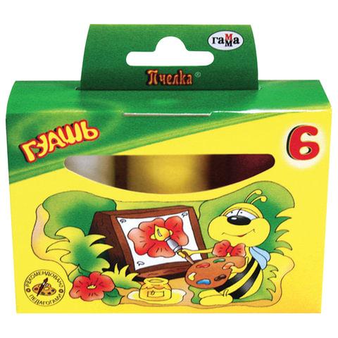 "Гуашь ГАММА ""Пчелка"", 6 цветов по 20 мл, без кисти, картонная упаковка"