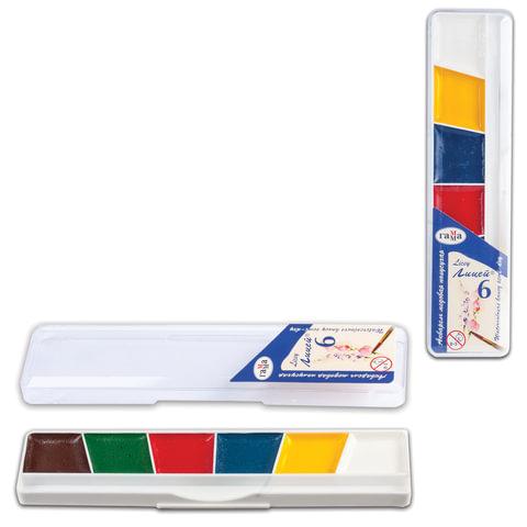 Краски акварельные ГАММА «Лицей», 6 цветов, медовые, пластиковая коробка, без кисти